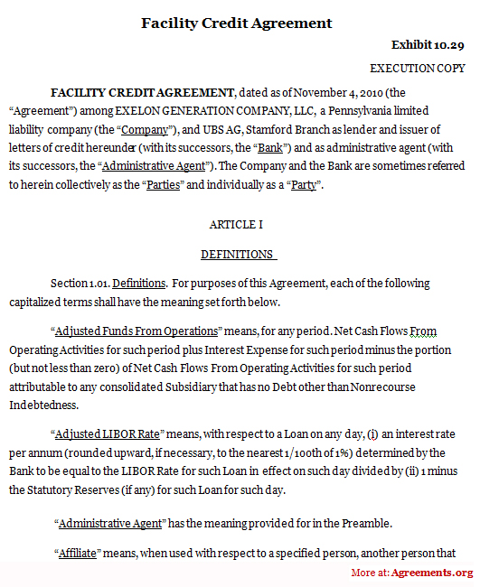 Facility Credit Agreement