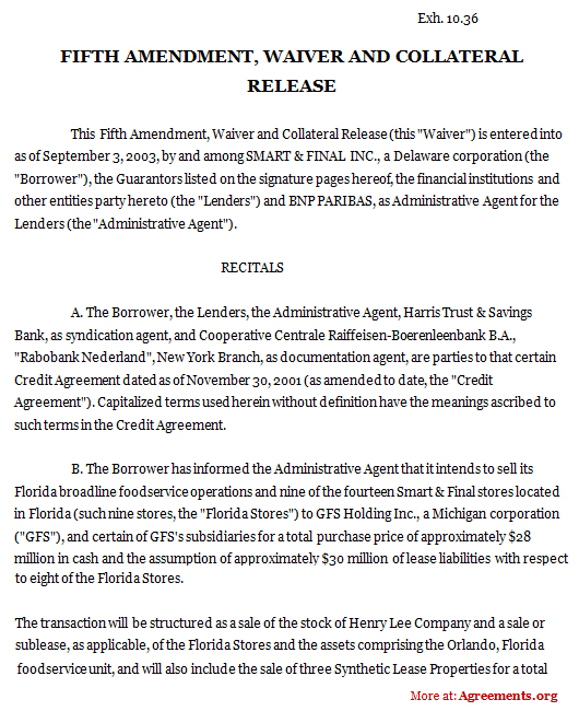 Fifth Amendment Waiver And Collateral Release Sample Fifth