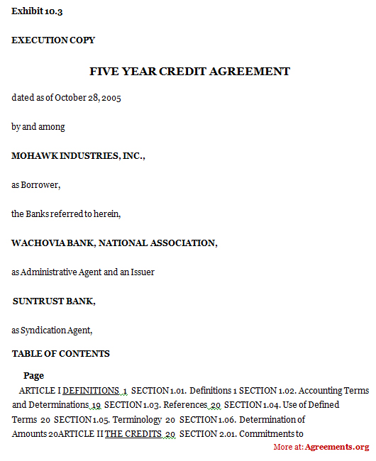Five Year Credit Agreement Sample Five Year Credit