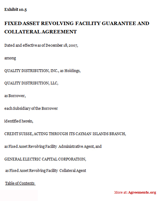 Fixed Asset Revolving Facility Guarantee and Collateral Agreement