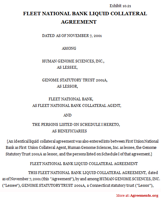 Fleet National Bank Liquid Collateral Agreement Sample