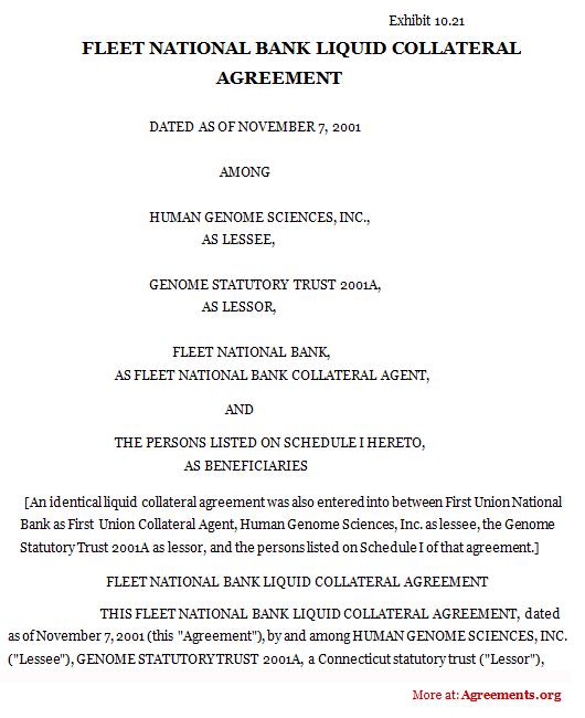 Fleet National Bank Liquid Collateral Agreement