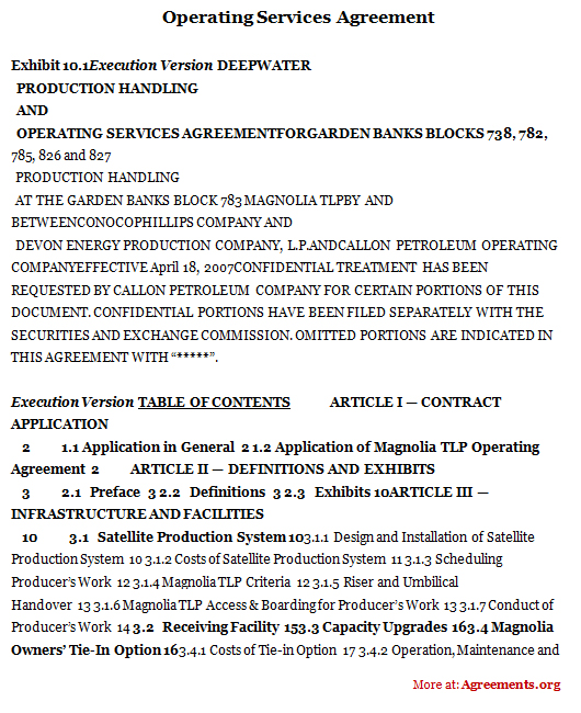 Operating Services Agreement