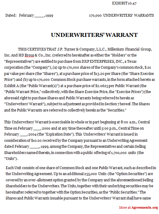Form of Underwriters Warrant Agreement