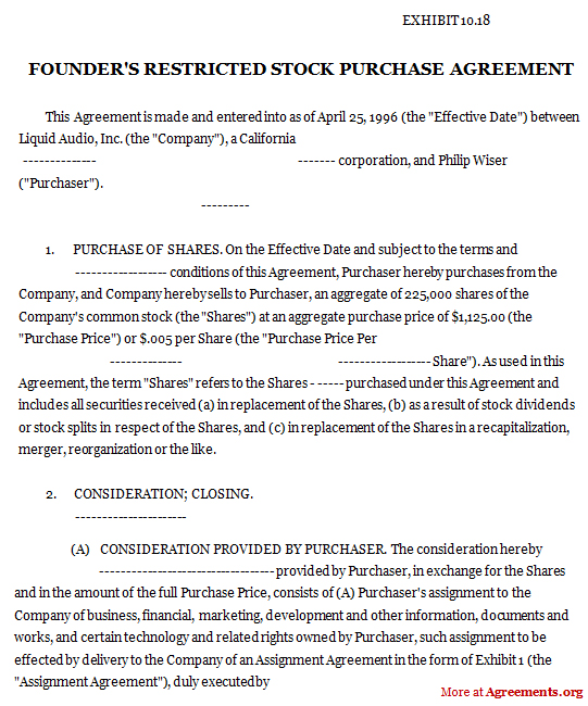 Founders Restricted Stock Purchase Agreement