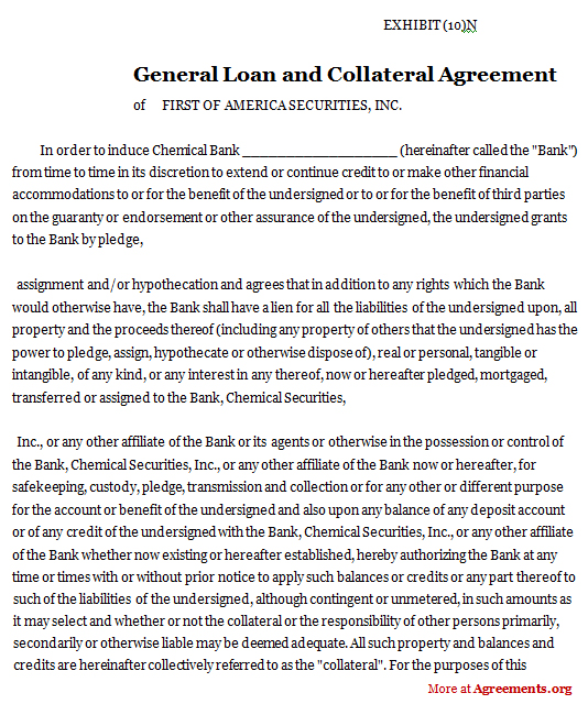 General loan and Collateral Agreement