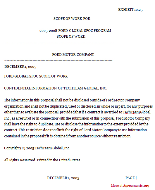 Global Scope of Work Agreement for IT Support Services Agreement Template