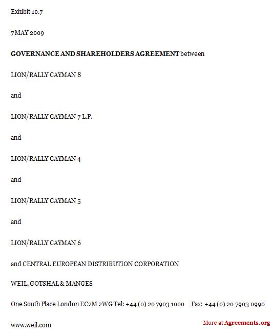 Governance and Shareholders Agreement