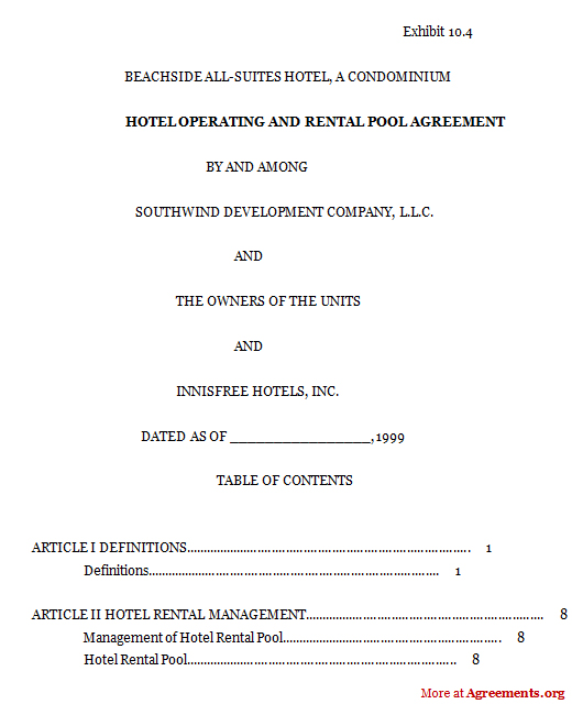 Hotel Operating And Rental Pool Agreement, Sample Hotel Operating