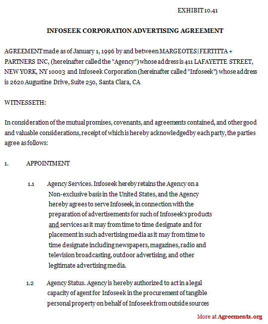 Advertising Contract Agreement Download Advertising Contract