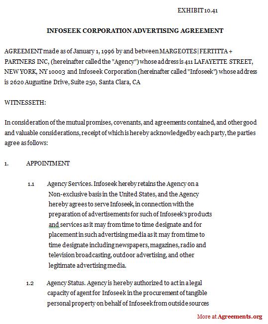 Infoseek Corporation Advertising Agreement