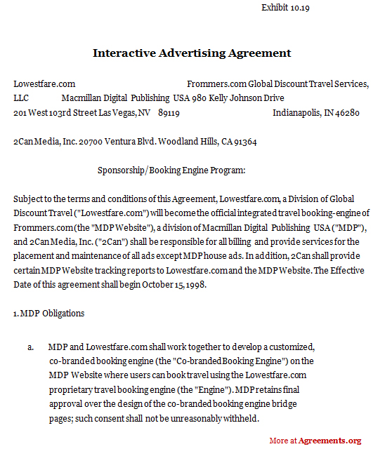 Interactive Advertising Agreement