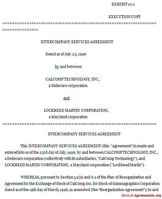 Intercompany Services Agreement Sample Intercompany Services
