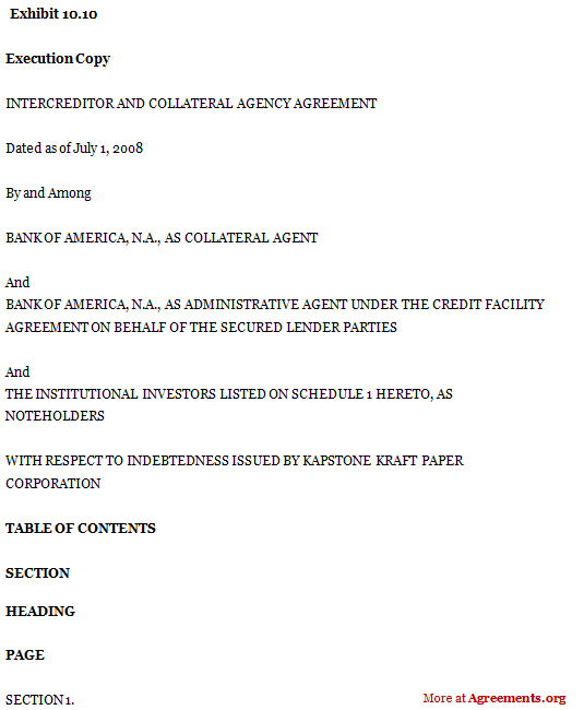 Intercreditor and Collateral Agency Agreement
