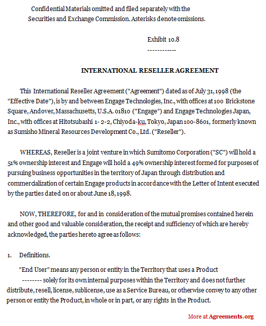 Sample Reseller Agreement | International Reseller Agreement Sample International Reseller