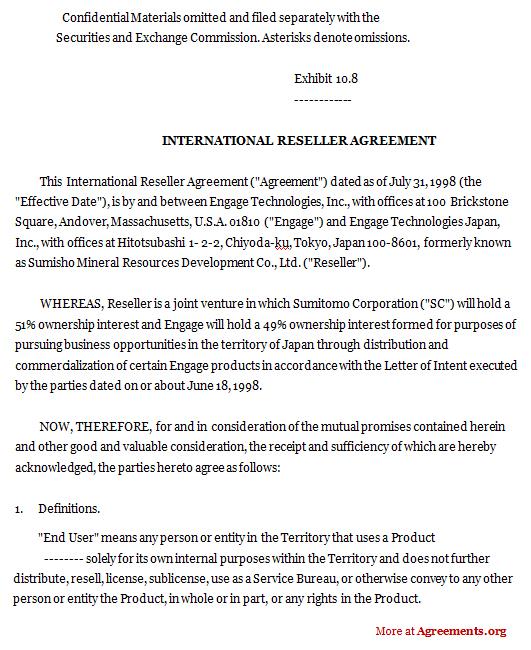 International Reseller Agreement