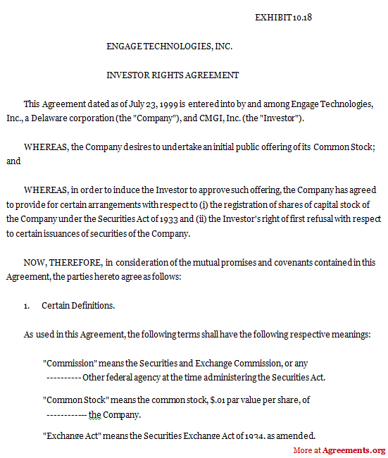Investor Rights Agreement Download Pdf Agreements Org