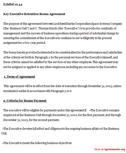 Download Key Executive Retention Bonus Agreement Template