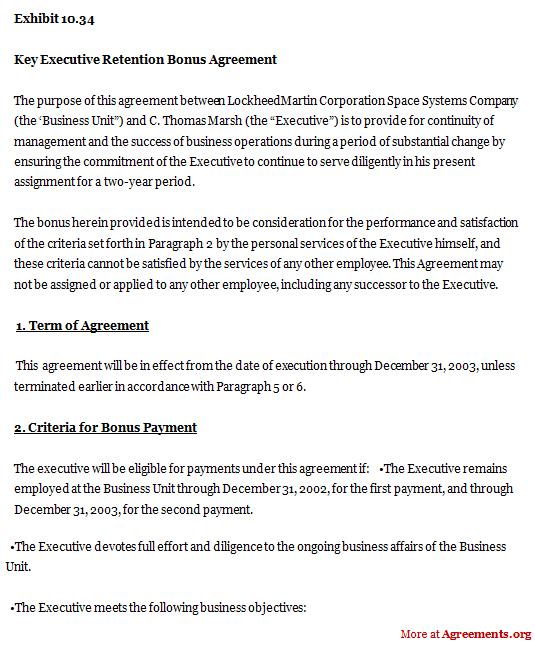 Key Executive Retention Bonus Agreement