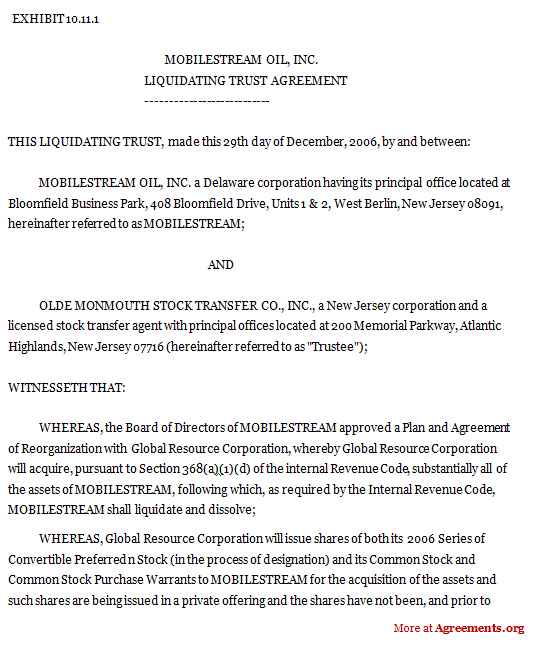 Liquidating Trust Agreement