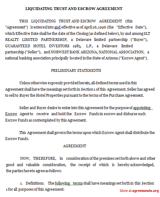 Liquidating Trust and Escrow Agreement
