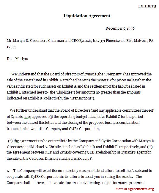 Liquidation Agreement