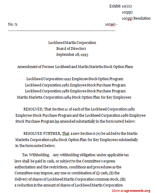 Lockheed Corporation 1992 Employee Stock Option Program
