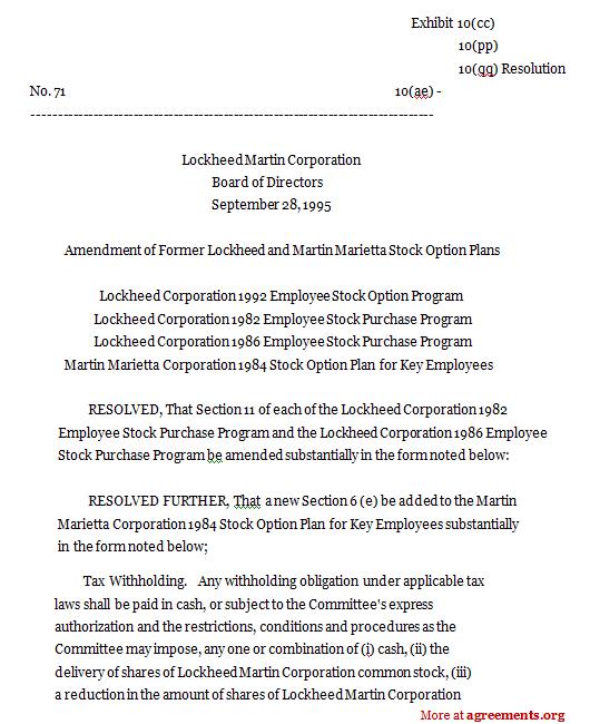 Lockheed Corporation 1992 Employee Stock Option Program