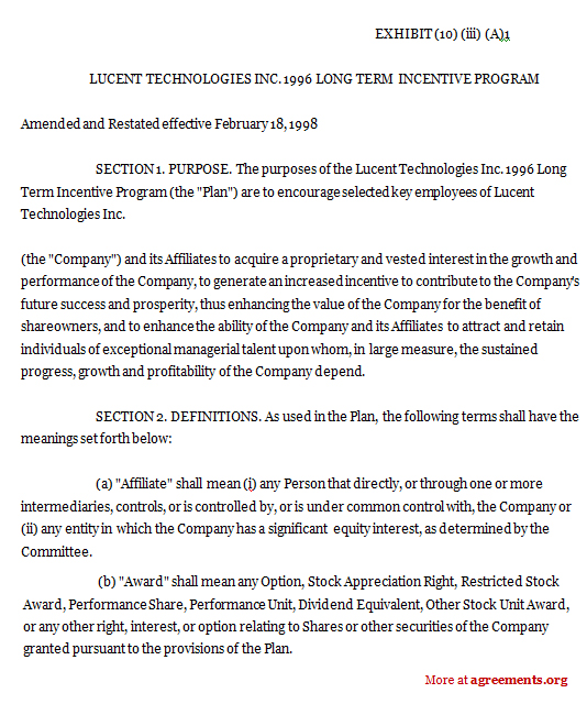 Long Term Incentive Program Agreement