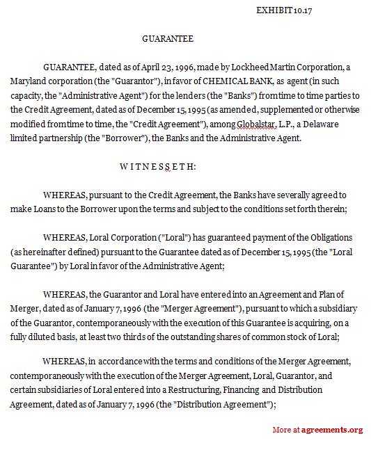 Loral Space & Communications - Lockheed Martin Guarantee Agreement