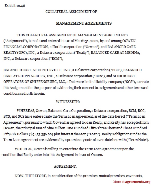Management Agreement Lease Management Agreement Definition