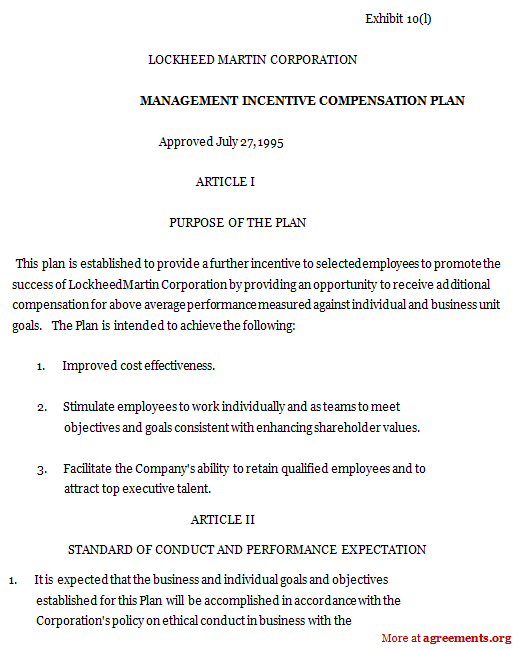 Management Incentive Compensation Plan, Sample Management