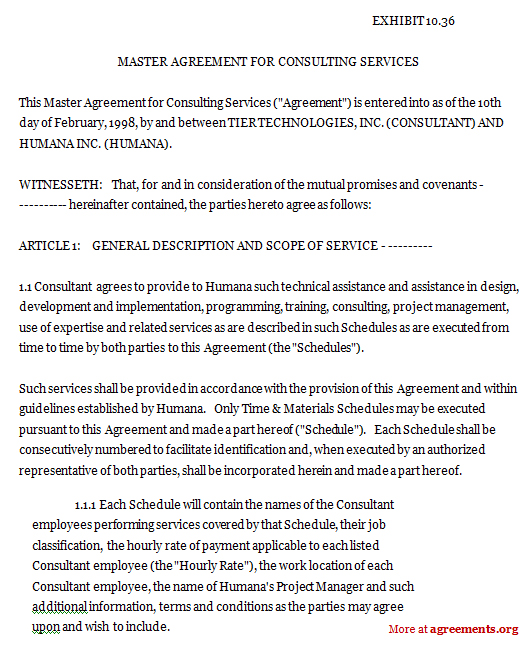 Master Agreement For Consulting Services Sample