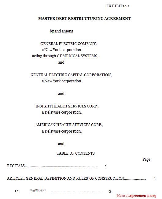 Master Debt Restructuring Agreement