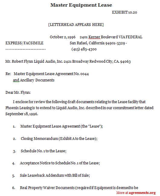 Master Equipment Lease, Sample Master Equipment Lease | Agreements.Org