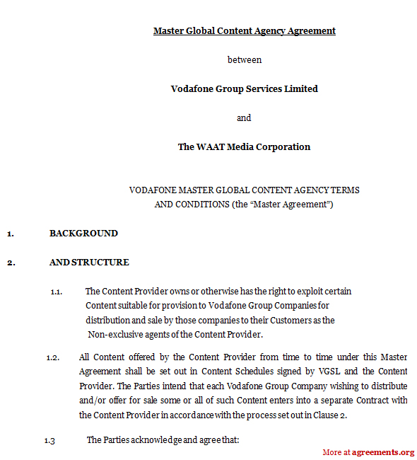 Master Global Content Agency Agreement, Sample Master Global