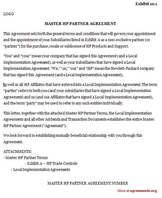 Master Hp Partner Agreement Sample Master Hp Partner Agreement
