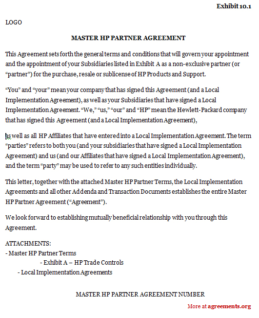 Master Hp Partner Agreement