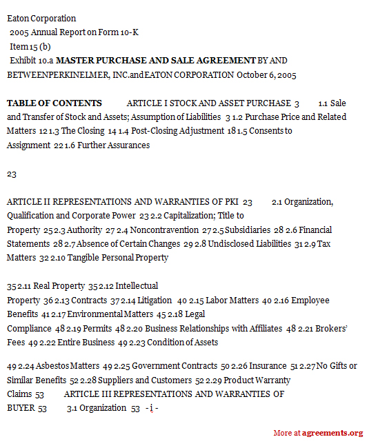 Master Purchase and Sale Agreement
