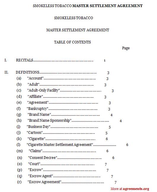 Master Settlement Agreement