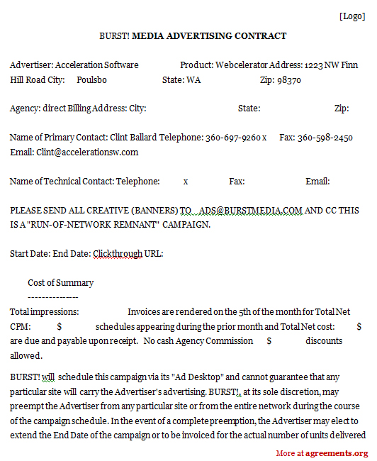 Media Advertising Contract