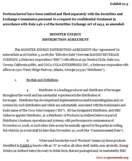 Monster Energy Distribution Agreement