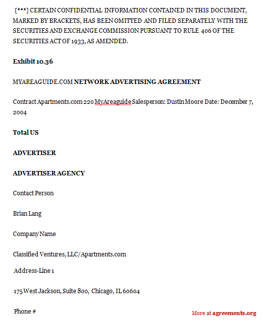 Network Advertising Agreement