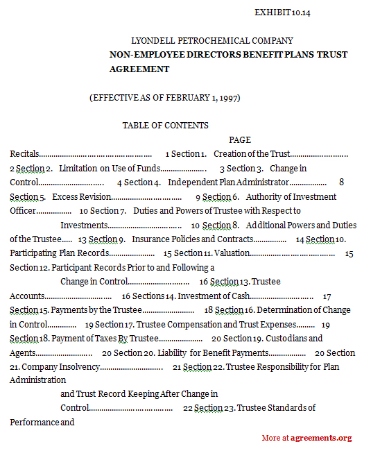 Download a Non-Employee Directors Benefit Plans Trust Agreement Template