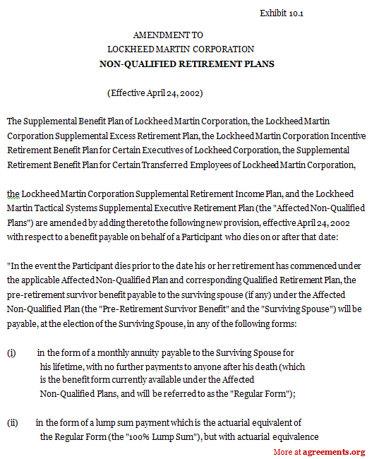 Non-Qualified Retirement Plans Agreement