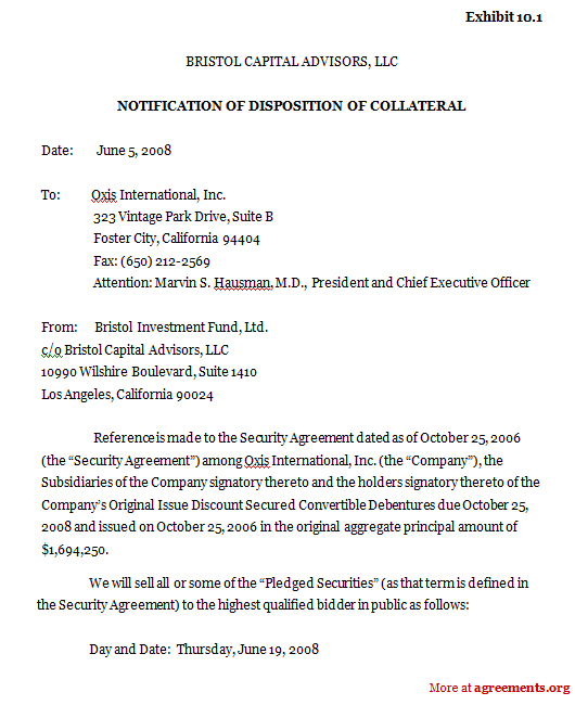 Notification of Disposition of Collateral Agreement