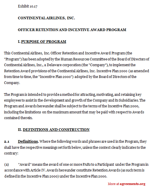 Officer Retention and Incentive Award Program Agreement