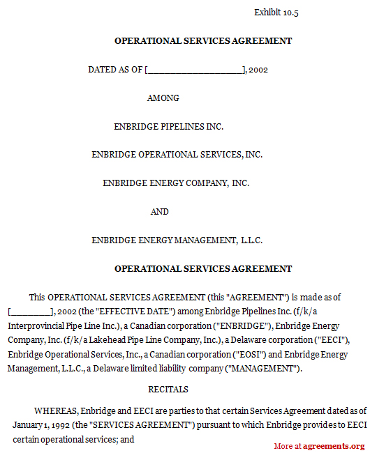 Operational Services Agreement