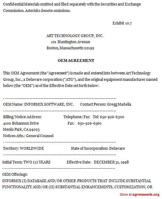 Original Equipment Manufacturer Agreement