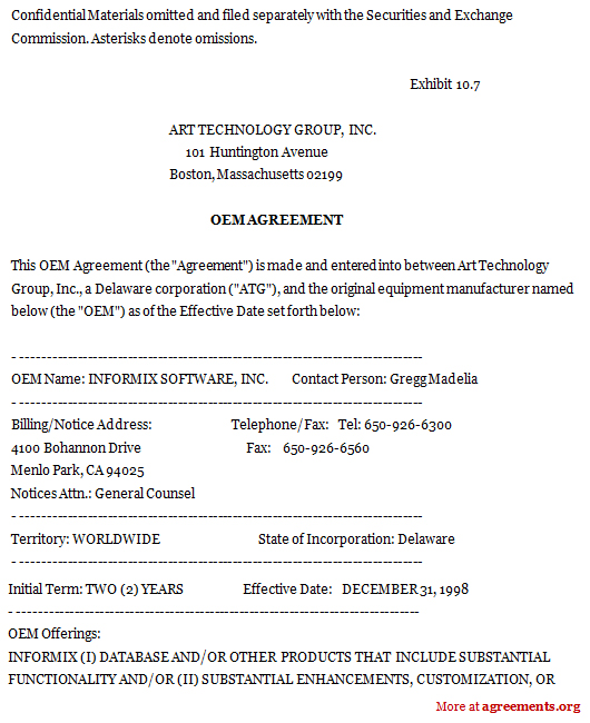 Original Equipment Manufacturer Agreement